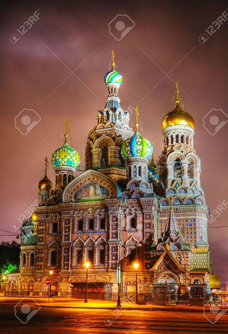Retter Auf Blut-Kathedrale (Kirche Der Auferstehung Jesu Christi) In St. Petersburg, Russland In Der Nacht Lizenzfreie Fotos, Bilder Und Stock Fotografie. Image 17184870.