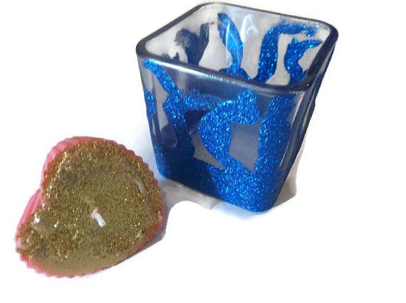 Meditation Candle, Glitter Candle Holder, Manifesting Gemstone Candle, Dark Blue Glitter Candle Dish, Law of Attraction Candle,Free Shipping