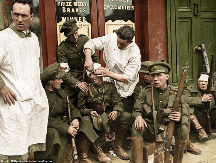 Free State Soldiers take a break from fighting on the street in Dublin possibly during the fighting of the four courts where wounded men are being tended to while others catch their breath. The Irish Civil War was a conflict that followed the Irish War of Independence and came alongside the establishment of the Irish Free State, an entity independent from the United Kingdom but within the British Empire. The civil war was waged between two opposing groups, Irish republicans and Irish…
