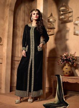 Black floor length Indian punjabi pant kameez in velvet