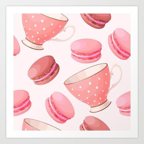 Pink Tea Party Art Print Pink Watercolor Art Print Tea Party