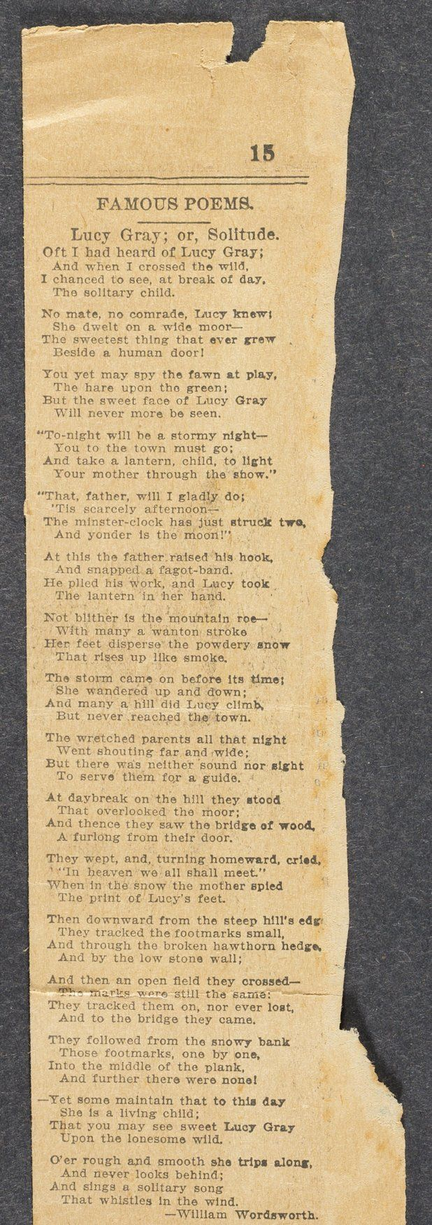 william wordsworth lucy poems It is barely an exaggeration to say that all lyric poetry is about love, death, or both  so i'm not sure what you're looking for: poems about the d.