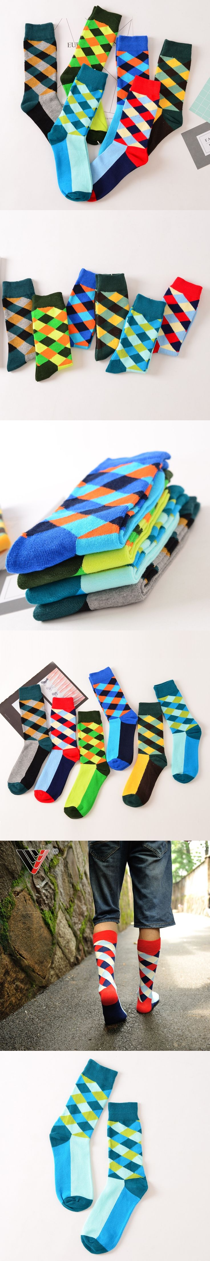 6 pairs Male Art Socks  New Brand Happy Socks Gradient Color Paragraph British Style Pure Cotton Stockings Men's In Tube Socks