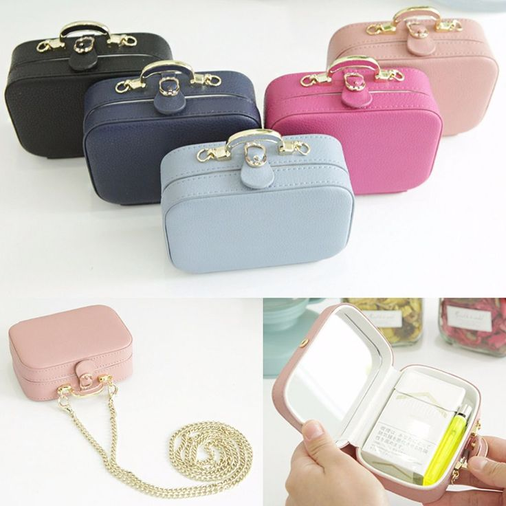 Leather Tobacco Cigarette Case Mirrored Shoulder Chain Mini Bag Cosmetic Pouch  #Jacc #CosmeticBags