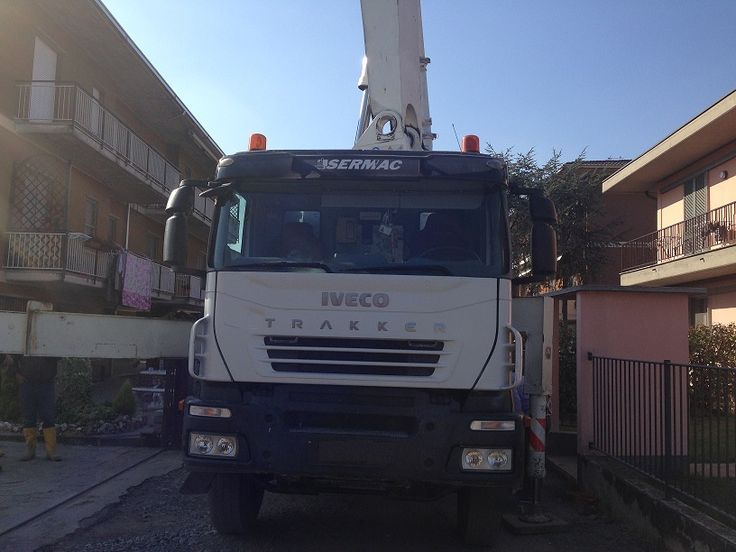 """Concrete pump Sermac 37 m """"Z"""" folding: ideal for operate in horizontal spaces also limited in height where it is required great agility and rapidity of opening and manoeuvre of the boom. Pipes: 125 mm Truck mounted on Iveco Trakker 4100 Year: 2008 km: 185000 4 axels Tires: 70%  Perfect machine ready to work."""