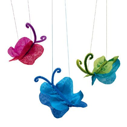a fun craft for the kids! tissue paper butterfly's