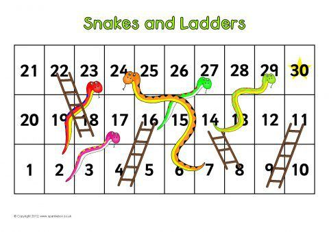 849 best numbers images on pinterest for kids for Snakes and ladders printable template
