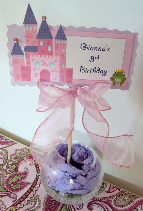 Princess Birthday Centerpiece Birthday by TooCuteInvites on Etsy, $6.00