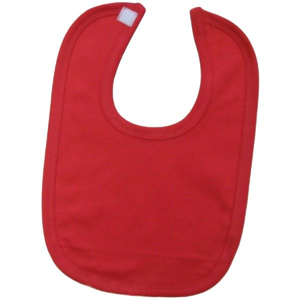 bac01841 - Baby Blank Plain Red unbranded 100% cotton velcro bib