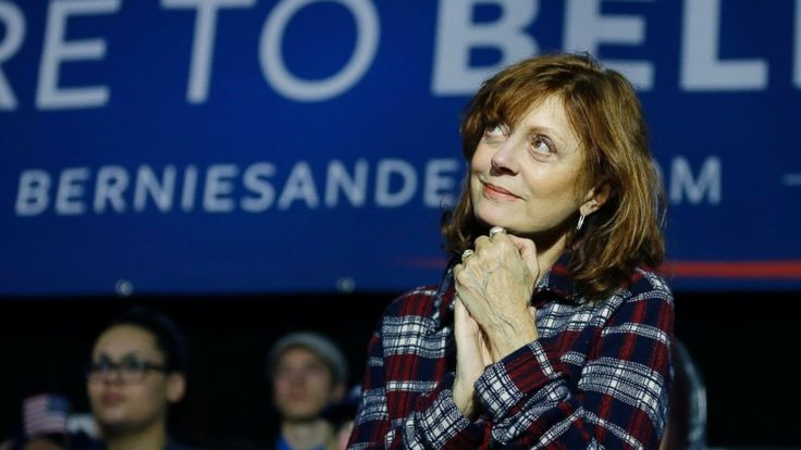 Actress and activist Susan Sarandon joined Bernie Sanders for the first time on the campaign trail Wednesday, introducing him to a massive overflow crowd.