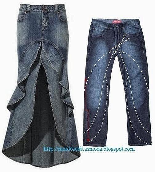 ARTESANATO COM QUIANE - Paps,Moldes,E.V.A,Feltro,Costuras,Fofuchas 3D: transforme calça jeans em saia longa