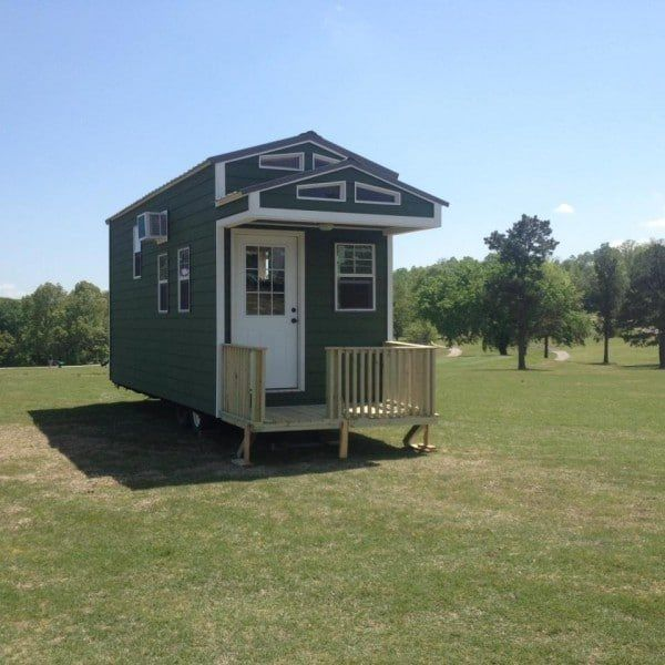 8x24 Cute Green Tiny House On Wheels Tiny House For Sale