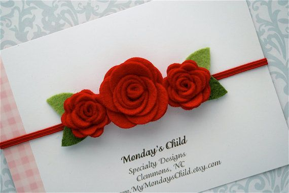 Felt Flower Headband in Red Newborn Baby by MyMondaysChild, $7.95