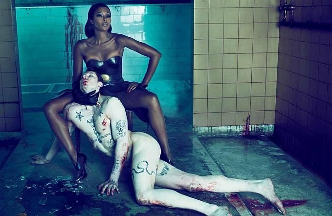 Naomi Campbell and a tattooed slave pictured by Mert & Marcus. More to be found at: http://thephotographer4you.com/photography/naomi-campbell-for-interview-by-mert-marcus/