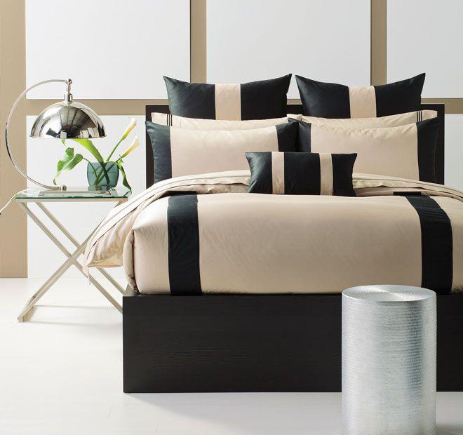 Linen House Boutique Mercer Quilt Cover Set Range Black and Taupe
