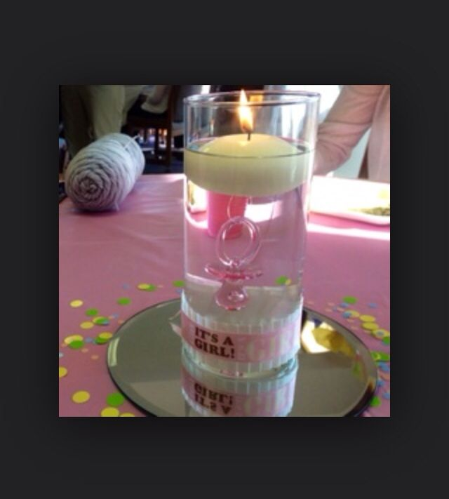 Floating candle center piece with pacifier