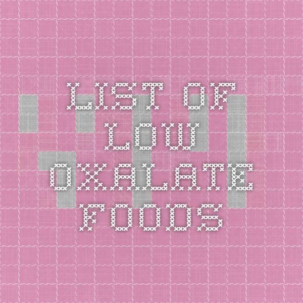 List of low oxalate foods