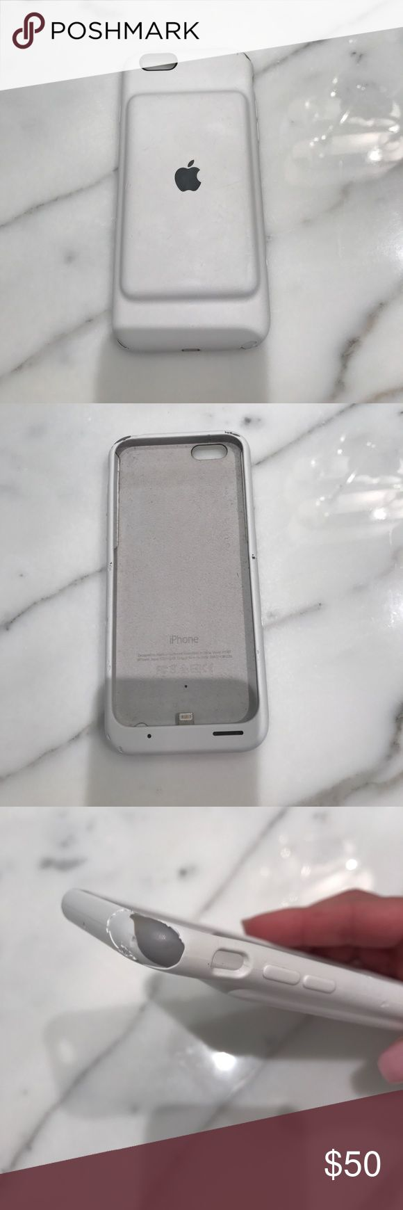 6 6s apple battery phone case White Apple charging phone case. Upper top is scrapped off   Slight imperfection apple Accessories Phone Cases