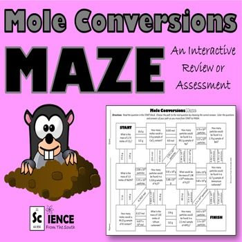 mole conversions maze for review or assessment science from the south mole conversion mole. Black Bedroom Furniture Sets. Home Design Ideas