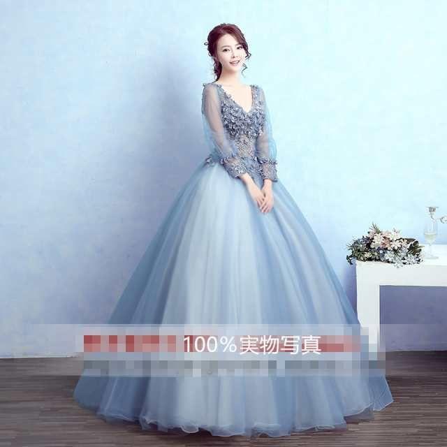 「超可愛い☆ ウェディングドレス パーティドレス カラードレス Aライン プリンセス 長袖 Vネック♪結婚式 舞台 オーダーサイズ可能 H016」の商品情報やレビューなど。