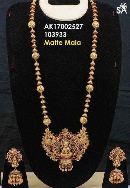 Latest Matte Gold Temple Haram   Buy Online 1 gram Jewellery   Elegant Fashion Wear