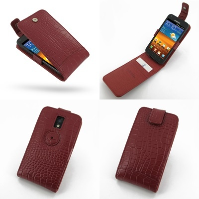 PDair Leather Case for Samsung Galaxy S II Epic 4G Touch SPH-D710 - Flip Top Type (Red/Crocodile Pattern)