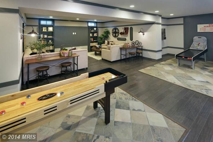 Contemporary Game Room with Maple Platinum 1/2 in. Thick x 5 in. Wide x Random Length Engineered Hardwood Flooring