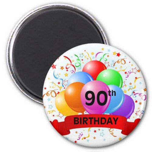 90th Birthday Banner Balloons Magnet