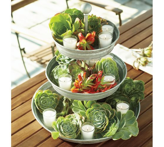Galvanized Metal Tiered Stand   Pottery Barn