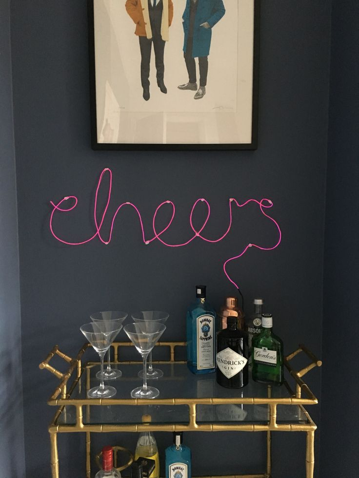 Diy Neon Sign Drinks Trolley Bar Cart Www Overatkates Com Online Interior