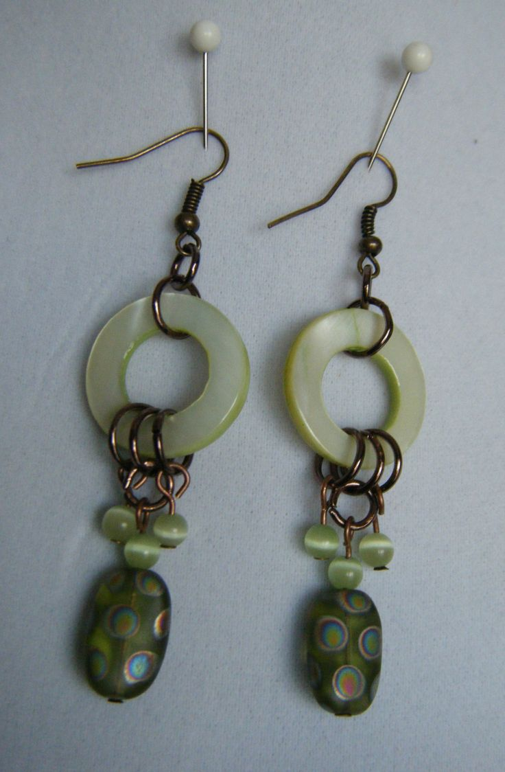 spring green donuts with dangles, copper