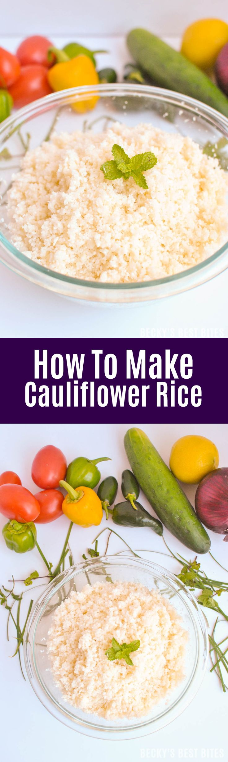 How To Make Cauliflower Rice or Couscous is a healthy low carb, high fiber alternative. Satisfy even the most grain-loving individuals with this easy swap. | beckysbestbites.com
