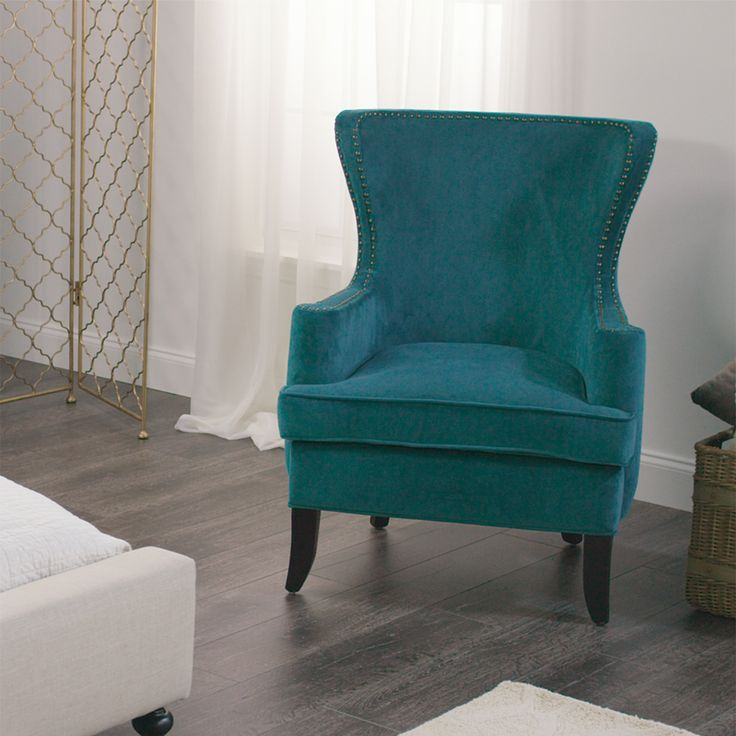 Featuring A Broad Back, Deep Seat, And Rolled Arms, Our Handsome Pacific  Blue Elliott Wingback Chair Offers A Modern Update To This Classic  Silhouette.