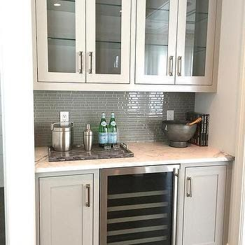 Butler Pantry with Gray Glass Tile Backsplash