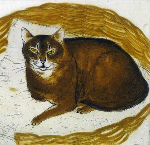 Elizabeth Blackadder, 1995, 'Abyssinian Cat in a Basket', Etching.