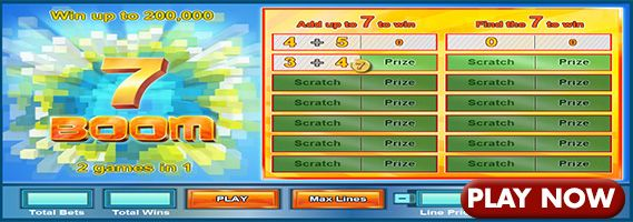7 Boom online scratchcard is for people who have no need for numbers other than 7. Play now for you lucky 7 win.
