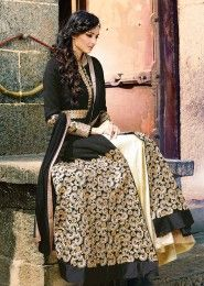 Party Wear banglori silk Black Antique Work Straight Suit