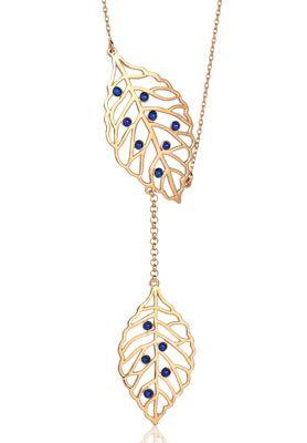 14 Ayar Altın Yaprak Model Mavi Taşlı Kolye