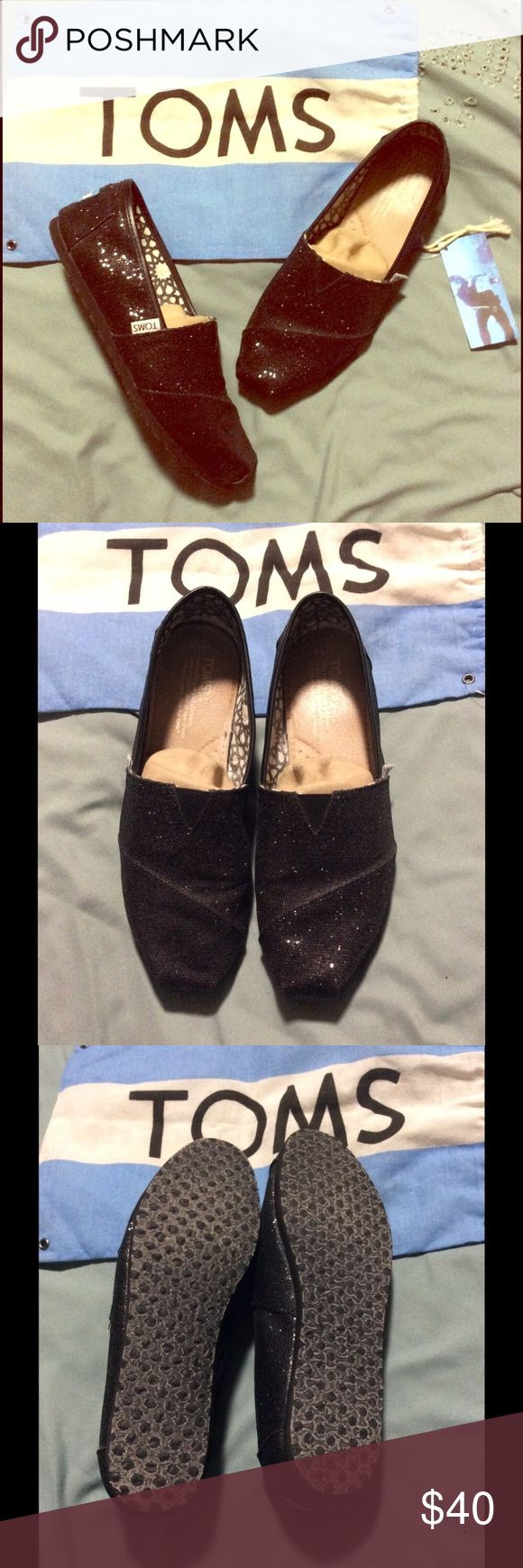 Women's Black Glitter Toms Worn a couple of times, always with powder in the shoe! Toms Shoes Flats & Loafers