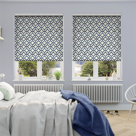 Choices Lattice Navy Blue Roller Blind from Blinds 2go