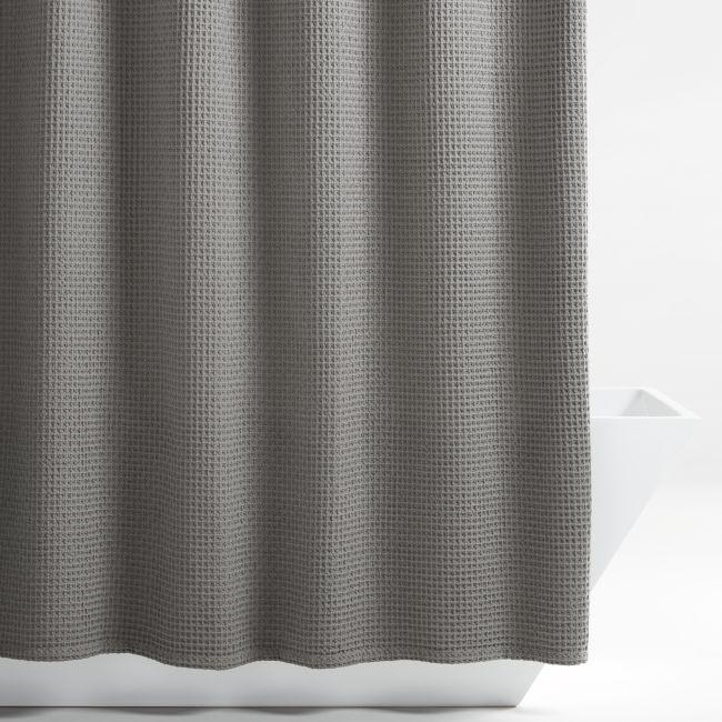 Organic Cotton Waffle Slate Shower Curtain Reviews Crate And Barrel In 2020 Slate Shower Shower Curtain Gray Shower Curtains