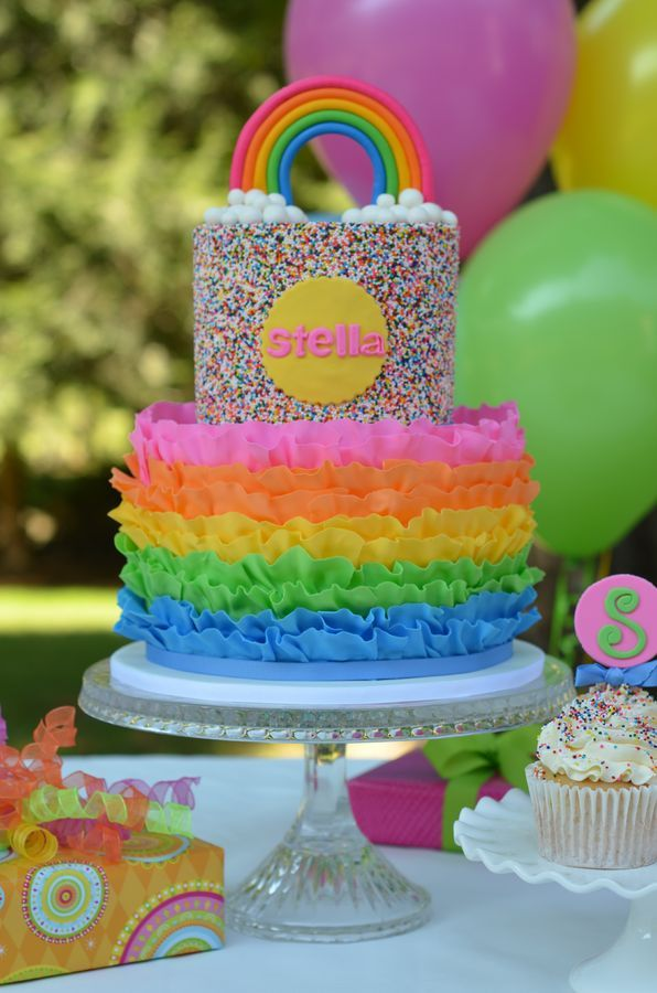 Rainbow, Ruffle and Sprinkles cake. It is rainbow cake on the inside as well.