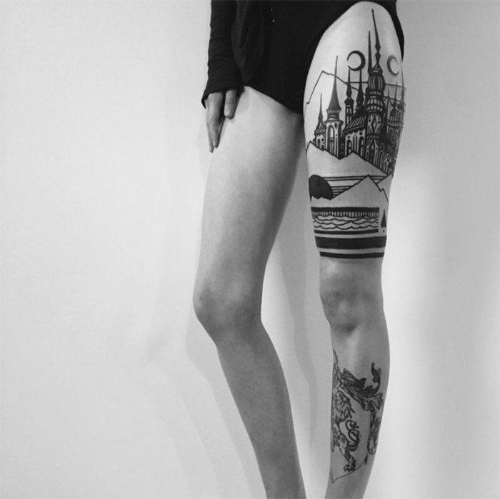 die besten 25 tattoo oberschenkel ideen auf pinterest. Black Bedroom Furniture Sets. Home Design Ideas