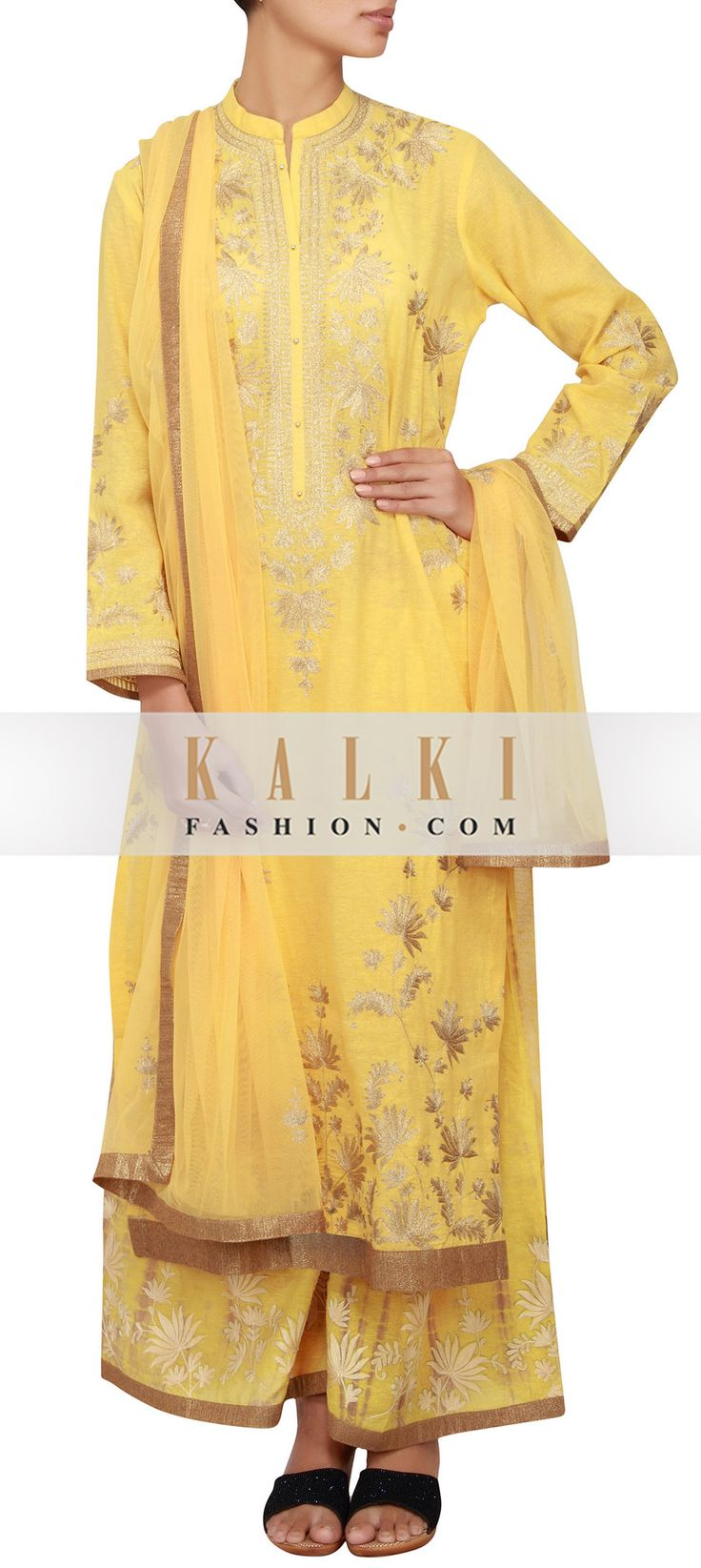 Buy Online from the link below. We ship worldwide (Free Shipping over US$100)  http://www.kalkifashion.com/yellow-cotton-jute-straight-fit-suit-embellished-in-zari-embroidery-only-on-kalki.html