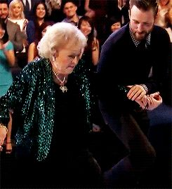 Goddammit, Evans! STOP!  Watch Captain America Help Walk National Treasure Betty White on Stage