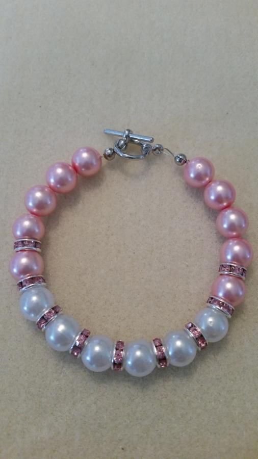 Pink & White Bracelet. by Caitlin
