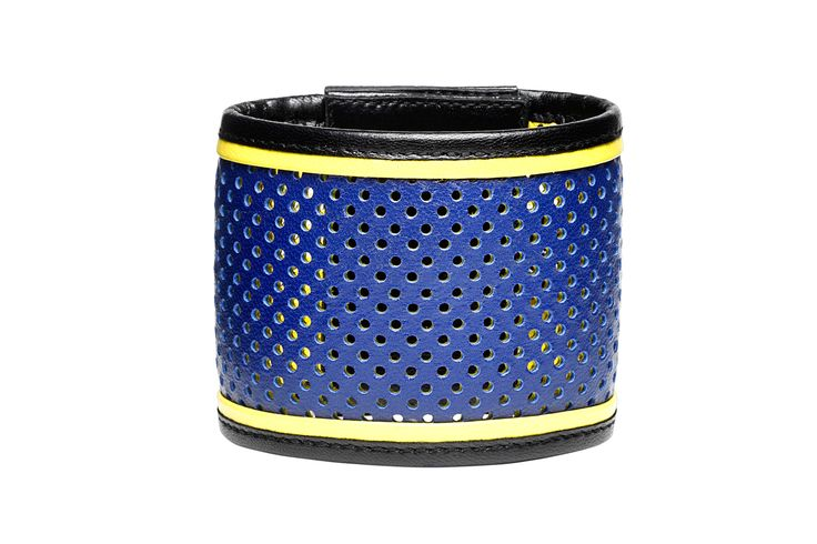 "Daniel Havillio leather bracelet. ""Cup"" bracelet. Perforated leather & neoprene. Leather Jewelry. www.danielhavillio.com"