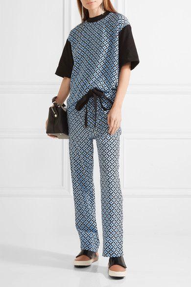 Marni - Printed Silk Crepe De Chine Wide-leg Pants - Blue - IT36