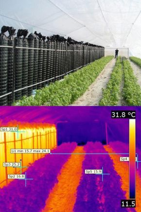 """""""An Innovative Way For Heating Greenhouses Using Solar Energy During The Winter For Summer Crop Production"""" - """"Wall of water"""" made of black PE water tubes. """"...a simple, sustainable, nonpolluting, no emissions system for growing summer crops in winter by raising the temperature using only solar energy."""""""