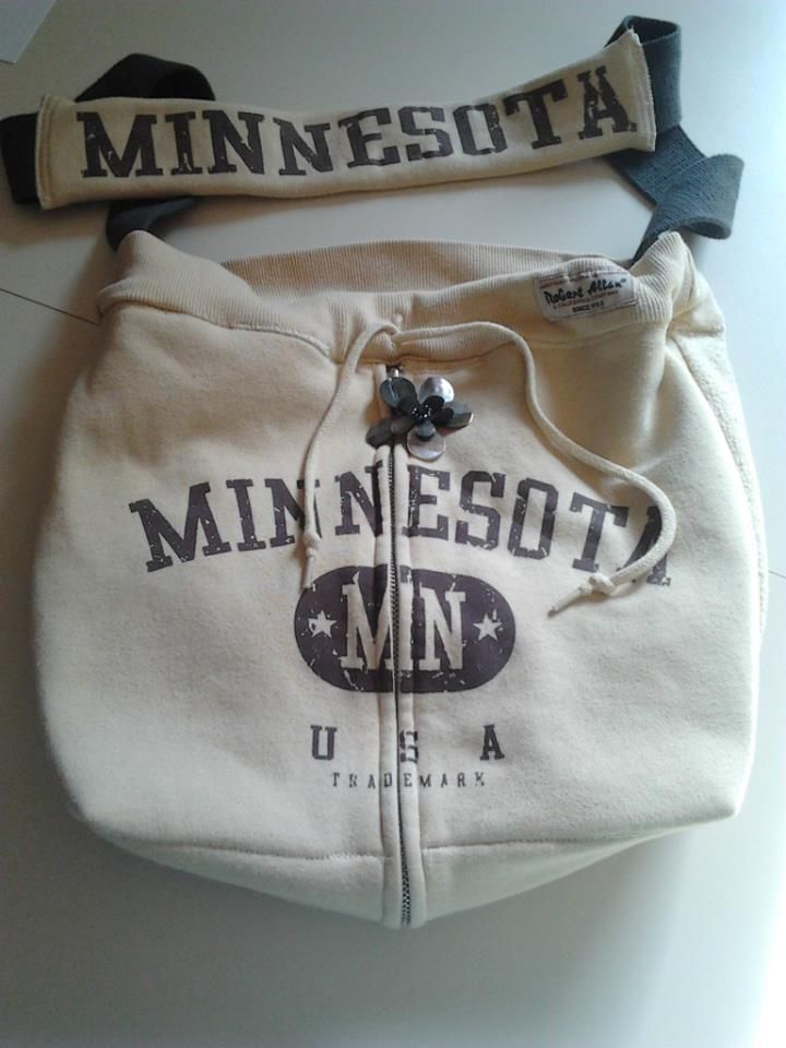 upcycled sweatshirt, made into a bag. SOLD